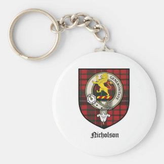 Nicholson Clan Crest Badge Tartan Keychain