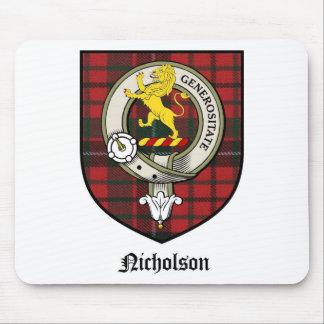Nicholson Clan Crest Badge Tartan Mouse Pad
