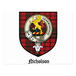Nicholson Clan Crest Badge Tartan Postcard