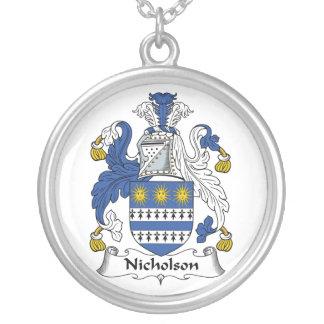 Nicholson Family Crest Round Pendant Necklace