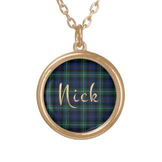 Nick Name-branded Pendant on MacKenzie Tartan