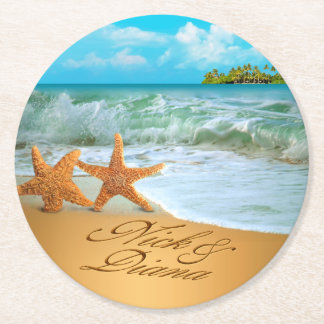 Nick Starfish Couple ASK 4 YOUR NAMES IN SAND Round Paper Coaster