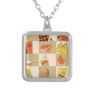 Nickel and Dime Square Pendant Necklace