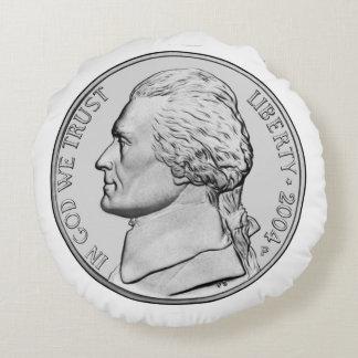 Nickel Coin Round Pillow. Round Pillow