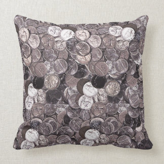 Nickel Coins Graphic Throw Pillow