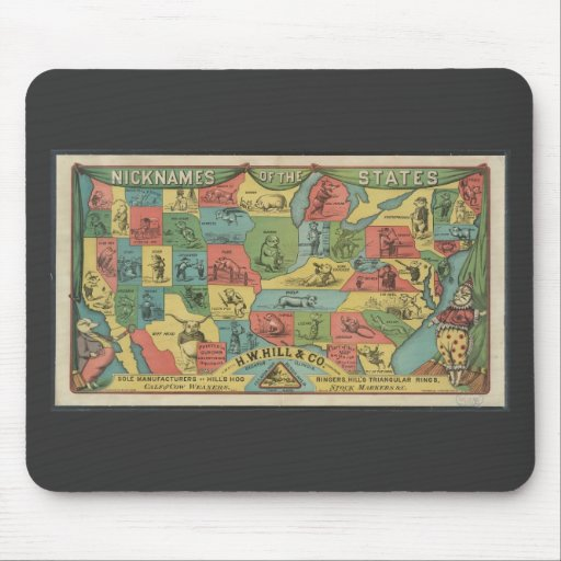 'Nicknames of the states' - Vintage USA Map Mouse Pad
