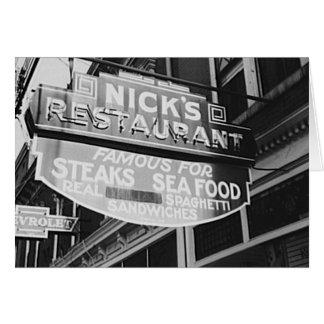 Nick's Greek Restaurant Vintage 1940 Neon Sign Card