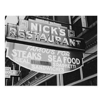 Nick's Greek Restaurant Vintage 1940 Neon Sign Postcard