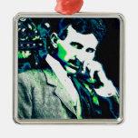 Nicola Tesla Vintage New Art Square Metal Christmas Ornament