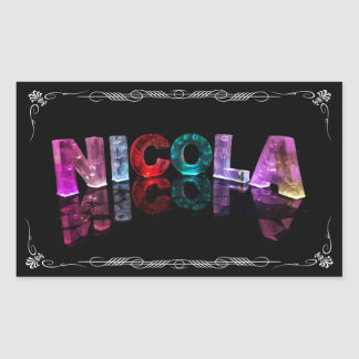 Nicola  - The Name Nicola in 3D Lights (Photograph Rectangular Sticker