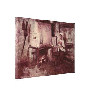 Nicolae Grigorescu - Domestic stove in Rucar Canvas Print