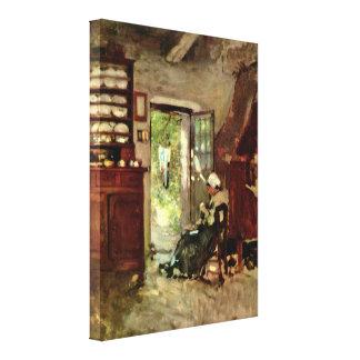 Nicolae Grigorescu - interior in Vitre Canvas Print