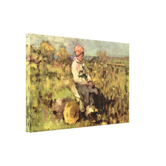 Nicolae Grigorescu - old woman from dispenser Canvas Print