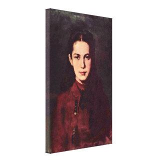 Nicolae Grigorescu - retrato de un chica Lona Envuelta Para Galerias