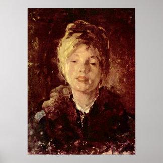 Nicolae Grigorescu - retrato de un chica Póster