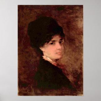 Nicolae Grigorescu - retrato de una mujer Póster