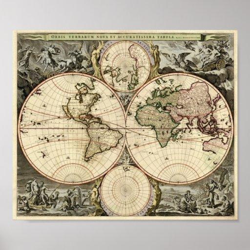 Nicolao Visscher 1690 Map of the World Poster