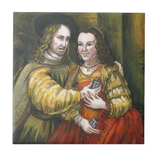 Nicolas Cage, pintura de Rembrandt, cinta de la Azulejo Cuadrado Pequeño