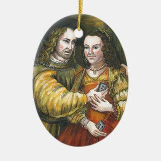 Nicolas Cage, pintura de Rembrandt, cinta de la Adorno Ovalado De Cerámica