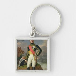 Nicolas-Charles Oudinot  Duke of Reggio Silver-Colored Square Keychain