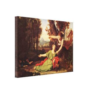Nicolas Colombel - Hagar and Ishmael in desert Gallery Wrapped Canvas