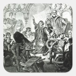 Nicolás Copérnico que explica su teoría Pegatina Cuadrada