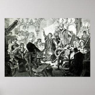 Nicolás Copérnico que explica su teoría Póster