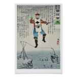 Nicolás II que camina por Kobayashi, Kiyochika Posters