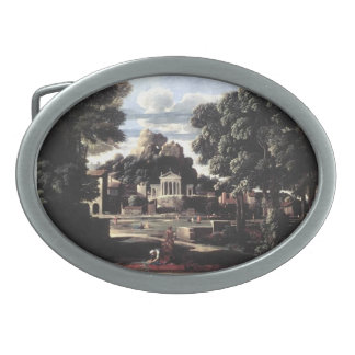 Nicolas Poussin- Ashes of Phocion collected Oval Belt Buckles