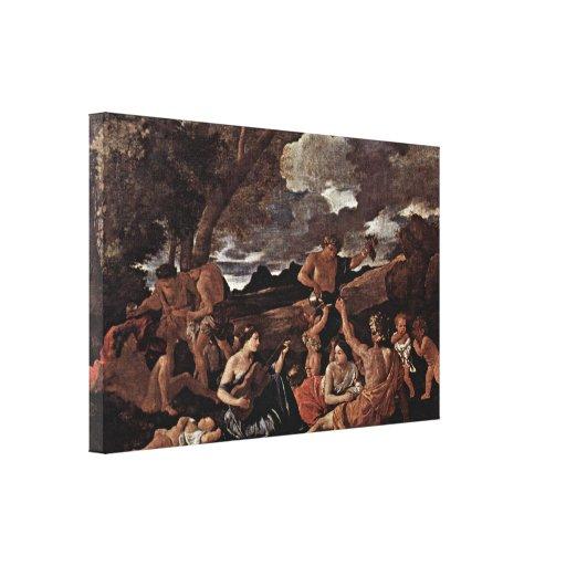Nicolás Poussin - Baccanale con el laúd Impresión En Lienzo Estirada