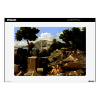 """Nicolas Poussin-Landscape with St. James in Patmos 15"""" Laptop Decal"""