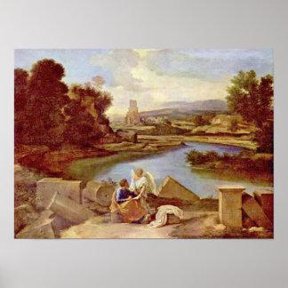 Nicolas Poussin - Landscape with St Matthew Poster