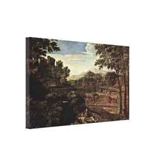 Nicolas Poussin - Landscape with two nymphs Canvas Print