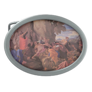 Nicolas Poussin-Moses Striking Water from the Rock Oval Belt Buckle