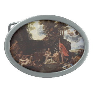 Nicolas Poussin- The birth of Baccus Oval Belt Buckle