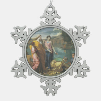 Nicolas Poussin- The Finding of Moses Snowflake Pewter Christmas Ornament