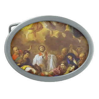 Nicolas Poussin- The Miracle of St. Francis Xavier Oval Belt Buckle