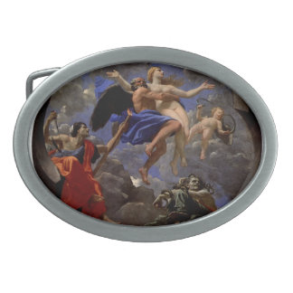 Nicolas Poussin- Truth Stolen Away by Time Oval Belt Buckles