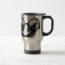 Nicolaus the ostrich in black & white graphic travel mug