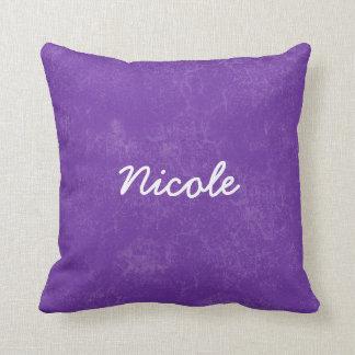 NICOLE Purple White Custom Name Gift Collection Pillow