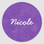 NICOLE Purple White Custom Name Gift Collection Classic Round Sticker