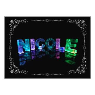 Nicole  - The Name Nicole in 3D Lights (Photograph Photo Print