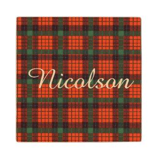 Nicolson clan Plaid Scottish tartan Wood Coaster