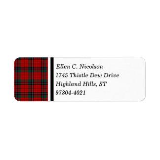 Nicolson Clan Red and Black Scottish Tartan Label
