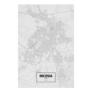 Nicosia, Chipre (negro en blanco) Póster