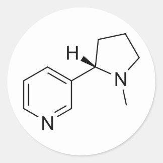 Nicotine-Molecule Classic Round Sticker