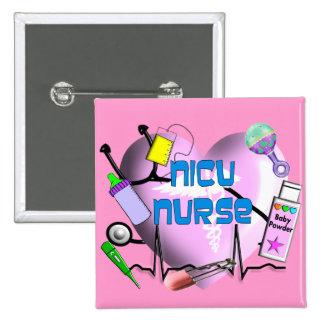 NICU Nurse Pink Heart Design Gifts 2 Inch Square Button