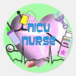 NICU Nurse Pink Heart Design Gifts Round Stickers
