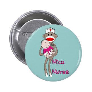 NICU Nurse Sock Monkey & Baby Design Gifts Pinback Button