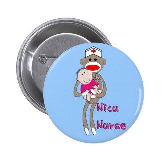 Nicu Nurse Sock Monkey Design Gifts Pinback Button